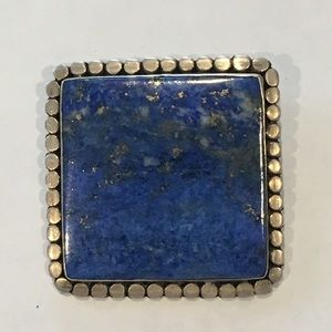 Sterling Silver and Sodalite Square Brooch